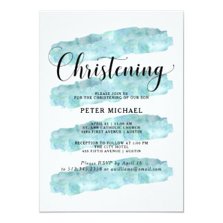 Blue Abstract Stripes   Watercolor Christening 13 Cm X 18 Cm Invitation Card