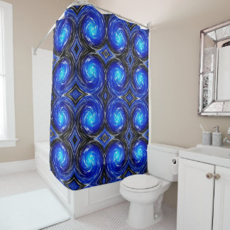 Blue Abstract Swirl Pattern Shower Curtain