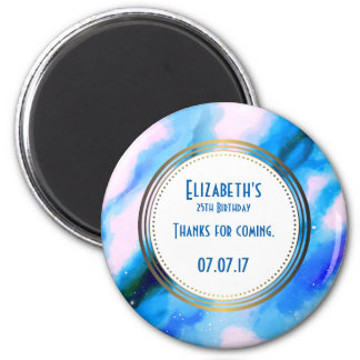 Blue Abstract W/ Gold Circle Birthday Thank You 6 Cm Round Magnet