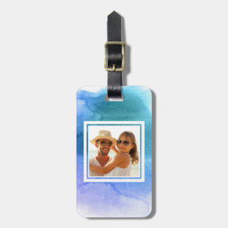 Blue Abstract Watercolor | Add your Name Luggage Tag