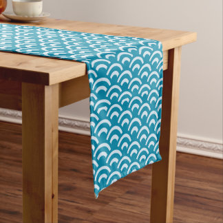 Blue Abstract Wave Pattern Short Table Runner