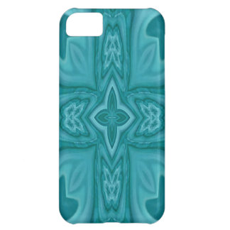 Blue abstract wood cross iPhone 5C case