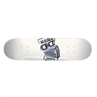Blue accordion graphic image design, music skate board deck