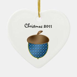Blue acorn christmas ornament