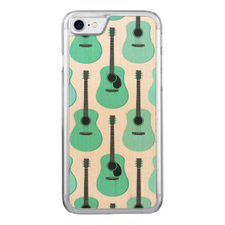 Blue Acoustic Guitars Pattern Carved iPhone 8/7 Case