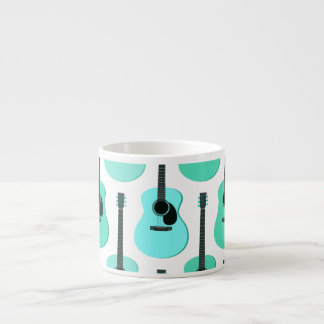 Blue Acoustic Guitars Pattern Espresso Cup