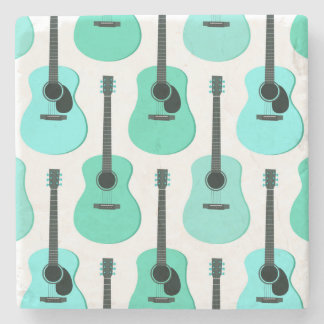 Blue Acoustic Guitars Pattern Stone Coaster