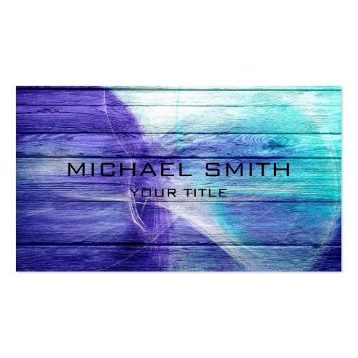 Blue Acrylic Painting on Wood #2 Business Card Templates