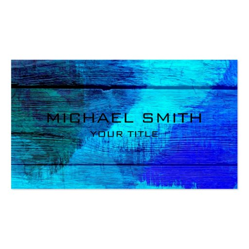 Blue Acrylic Painting on Wood Business Card Template