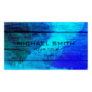 Blue Acrylic Painting on Wood Pack Of Standard Business Cards