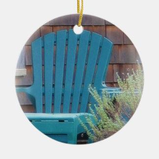 Blue Adirondack Christmas Ornament