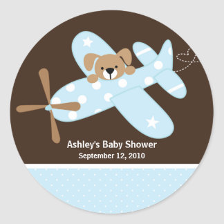 Blue Aeroplane Baby Shower Sticker