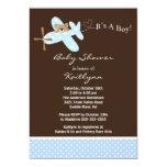Blue Aeroplane Boy Baby Shower Invitation