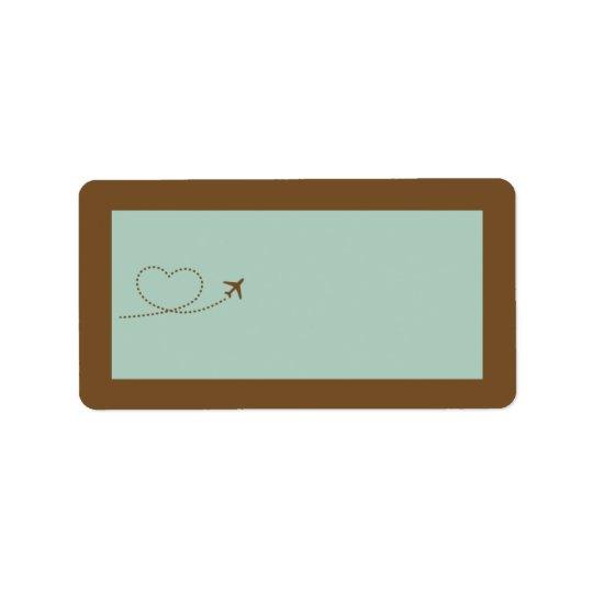 Blue Aeroplane Heart Wedding Mailing Address Label