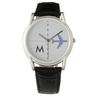 blue aeroplane with initial watch