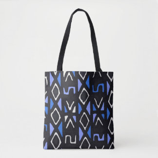 Blue African Mudcloth Contemporary Tribal Print Tote Bag