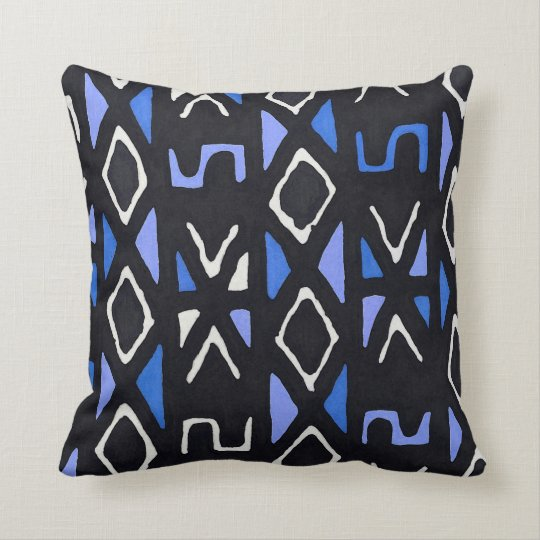 Blue African Mudcloth Tribal Print Throw Pillow