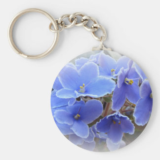 Blue African Violets Key Chain