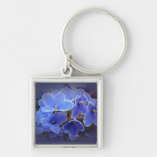 Blue African Violets Silver-Colored Square Key Ring