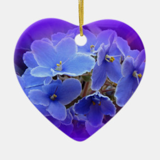 Blue African Violets to Personalize Christmas Ornament