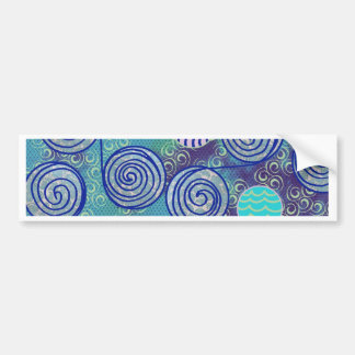 Blue African Wax Pattern Bumper Sticker