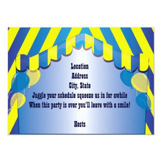 "Blue Afro Clown Party Celebration Invitation 5.5"" X 7.5"" Invitation Card"