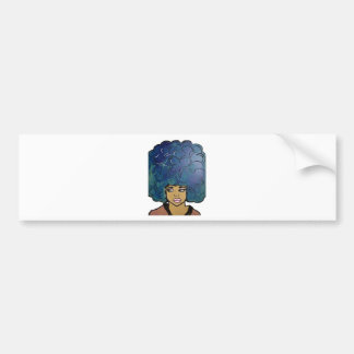 Blue Afro Ebony Girl Big Hair Bumper Sticker