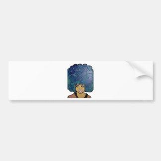 Blue Afro Ebony Girl Big Hair Bumper Sticker
