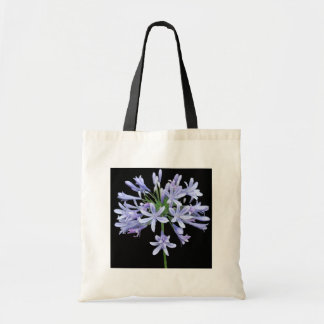 Blue Agapanthus Black Tote Bag