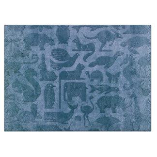 Blue Aged and Worn Animal Kingdom Pattern Cutting Board