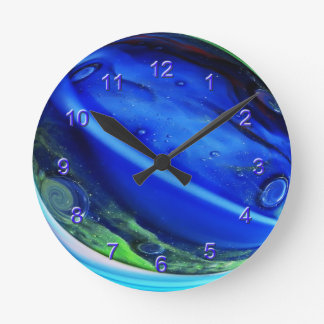 Blue Aggie Marble Wall Clock