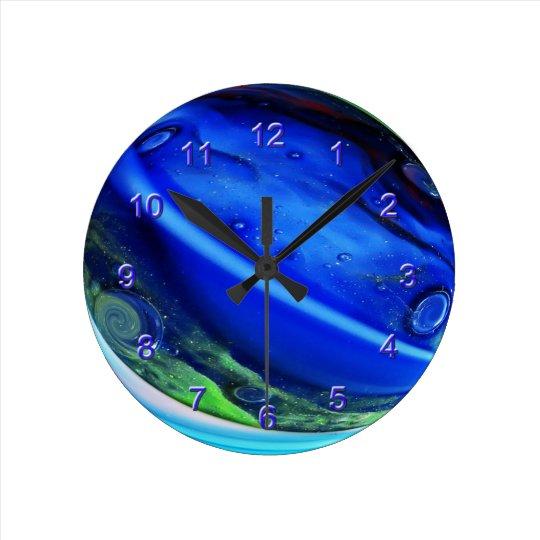 Blue Aggie Marble Wall Clock