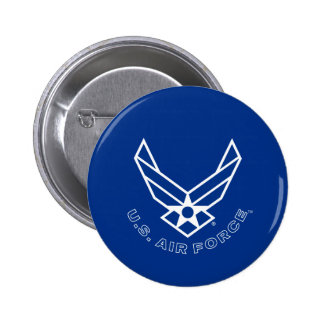 Blue Air Force Logo & Name with Outline 6 Cm Round Badge
