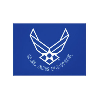 Blue Air Force Logo & Name with Outline Gallery Wrap Canvas