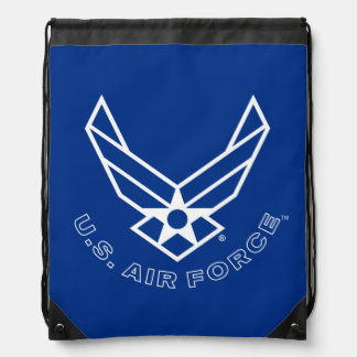 Blue Air Force Logo & Name with Outline Drawstring Backpack