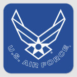 Blue Air Force Logo & Name with Outline Square Sticker