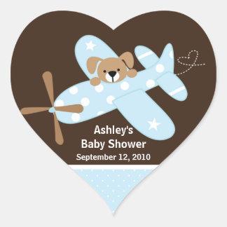Blue Airplane Baby Shower Heart Sticker