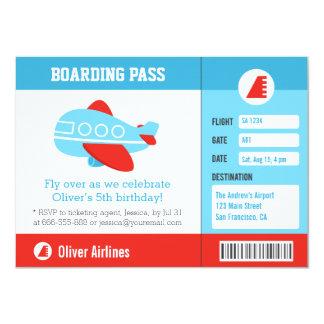 Blue Airplane Boarding Pass Birthday Party 11 Cm X 16 Cm Invitation Card