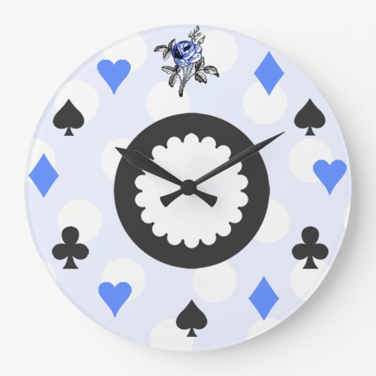Blue Alice in Wonderland Themed Large Clock