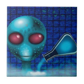 BLUE ALIEN LAB SCIENTIST, ALIEN SCIENCE SMALL SQUARE TILE