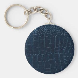 blue alligator skin keychain