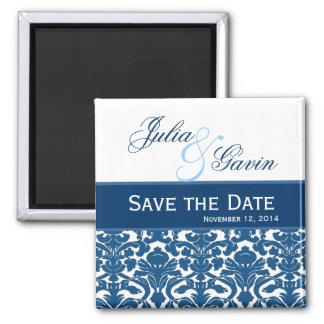 Blue amd White Damask Save the Date Wedding V397 Square Magnet