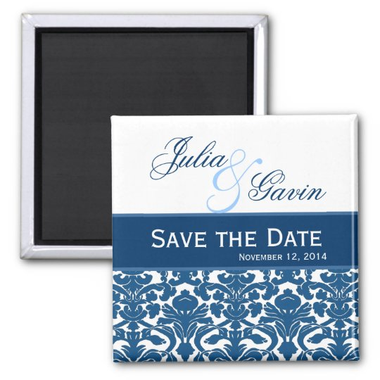 Blue amd White Damask Save the Date Wedding V397 Square Magnet