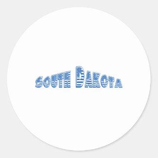Blue American Flag South Dakota Round Sticker