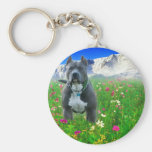 Blue American Pit Bull Terrier, Pikes Peak Basic Round Button Key Ring