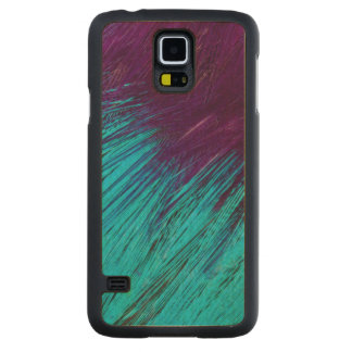 Blue An Purple Feather Abstract Carved Maple Galaxy S5 Case