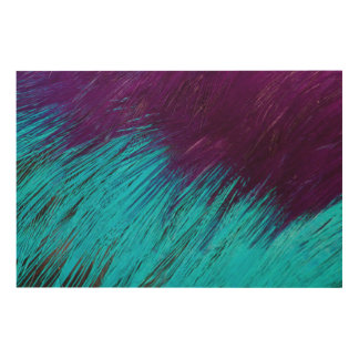 Blue An Purple Feather Abstract Wood Print
