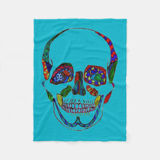 Blue Anatomical Sugar Skull Mosaic Fleece Blanket