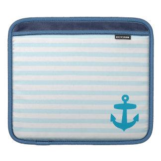 Blue Anchor and Light Blue Sailor Stripes iPad Sleeve