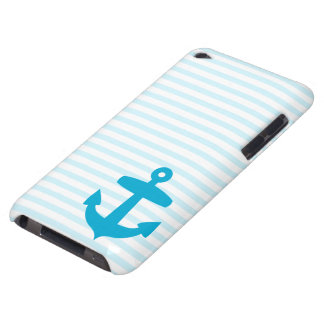Blue Anchor and Light Blue Sailor Stripes iPod Case-Mate Case
